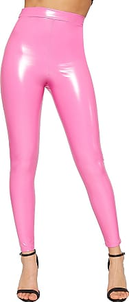 20d41e76024a8 WearAll Womens Wet Look Shiny Vinyl High Waisted Elasticated Jeggings  Ladies Leggings - Pink - 10