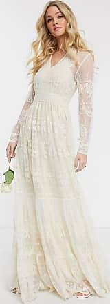 Y.A.S Lange diepuitgesneden bruiloftsjurk van kant in crème