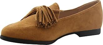 Saute Styles Womens Tassels Bow Loafers Ladies Fringe Flats Office Pumps School Shoes Size Camel Tan Work School 4