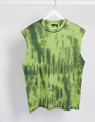 Asos T-shirt oversize senza maniche lavaggio verde tie-dye