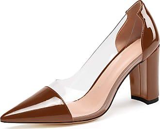 EDEFS Womens Pointed Toe Block Heel Court Shoes Transparent Chunky Heel Pmps Brown EU45/UK10.5