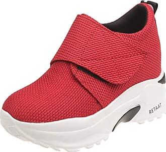RAZAMAZA Women Fashion High Heel Trainers Platform Shoes Velcro Sneakers Wedge Heel Daily Shoes Round Toe Red Size 37 Asian