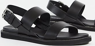 & Other Stories leather flat sandal with buckle in black