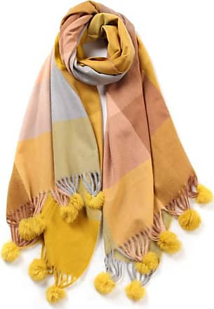 Your Dezire YDezire Check Pattern Tartan Pom Pom Scarve Large Shawl Winter Scarf Celebrity Style Wraps (Mustard)
