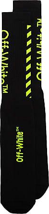 Off-white black cotton fluorescent green logo socks