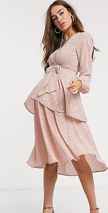 Queen Bee Maternity plunge front tiered midaxi dress with belt in metallic pink fleck print-Multi