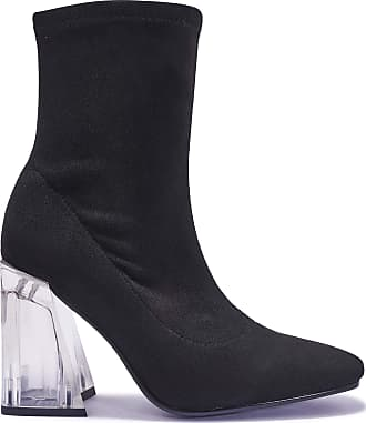Truffle Womens Faux Suede Ankle Sock Clear See Through Heels Boots Heel Boot - Black - UK 5