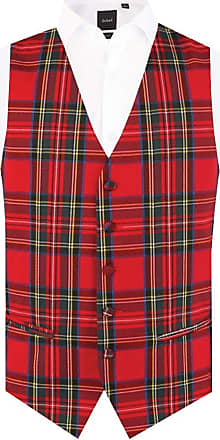 Dobell Mens Red Tartan Waistcoat Regular Fit 5 Button-XL (46-48in)