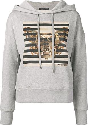 Alexander McQueen butterfly & skull printed hoodie - Grey