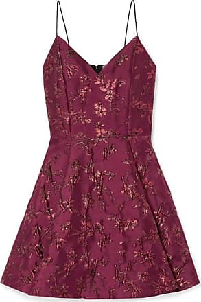 Alice & Olivia Anette Pleated Metallic Jacquard Mini Dress - Burgundy