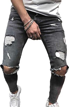 junkai Mens Stretchable Denim Skinny Fit Denim Pants Destroyed Frayed Stretch Ripped Knee Jeans Grey M