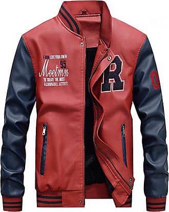 Yonglan Mens Short Winter PU Leather Jacket Casual Stand Collar Leather Baseball Clothing Mixed Color Outerwear Red 2XL