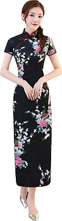 Zhuhaixmy Chinese Style Qipao for Women, Long Dress Plus Size Cheongsam Evening Dress Qipao for Wedding Black