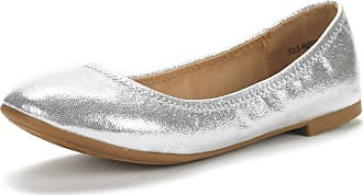 Dream Pairs Womens Slip On Round Toe Ballerina Ballet Flats Pumps Shoes Sole Happy Silver Size 7 US/ 5 UK