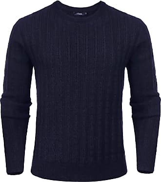 iClosam Mens Set-in Classic Sweater Pullover Jumper Knitwear ( 3 Dark Blue, XXL)