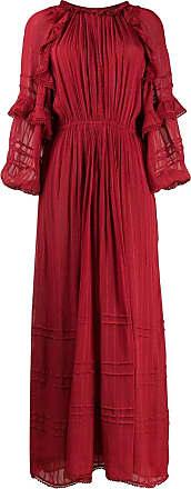 Isabel Marant Vestido evasê longo com bordado - Vermelho