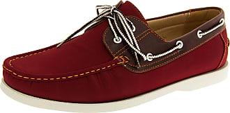 Footwear Studio Shoreside Mens Burgundy (White Sole) Faux Leather Boat Shoes 11 UK