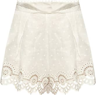Zimmermann Embroidered Linen Shorts Womens White