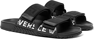 Versace Logo-detailed Webbing And Rubber Sandals - Black