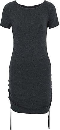 Elie Tahari Elie Tahari Woman Velvet-trimmed Ruched Stretch-micro Modal Mini Dress Dark Gray Size XL