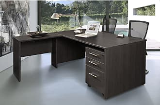 Unique Furniture Executive Desk with 3 Drawer Cabinet - Espresso - JOLL193-1