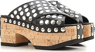Alexander McQueen Wedges for Women On Sale in Outlet, Black, Leather, 2017, 10 9