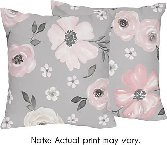 Watercolor Rose Flower 4 Piece Set Sweet Jojo Designs Blush Pink and Grey Woodland Boho Dream Catcher Arrow Queen Sheet Set for Gray Bunny Floral Collection