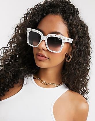 Quay Quay x Lizzo - Icy - Übergroße, eckige Sonnenbrille in Weiß mit Strassverzierung