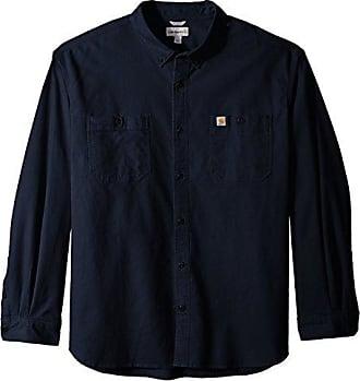 Carhartt Work in Progress Mens Big & Tall Rugged Flex Rigby Long Sleeve Work Shirt, Navy, 4X-Large