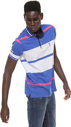 16a377f167 Aleatory Camisa Polo Aleatory Reta Listrada Branca Azul