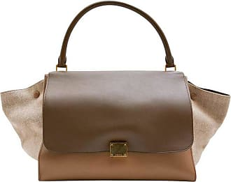 56e26466eb6d Celine trapeze Bag In Beige And Brown Leather And Linen