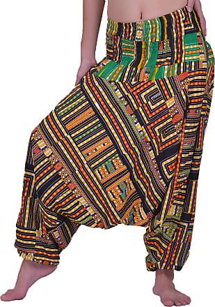 Lofbaz Womens Smocked Waist Floral Pattern 2 in 1 Patch Harem Pants Jumpsuit - Dashiki Yellow - Plus