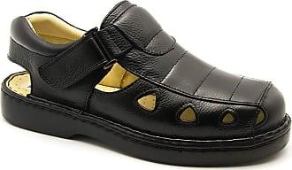 Doctor Shoes Antistaffa Sandália Masculina 302 em Couro Floater Preto Doctor Shoes-Preto-40