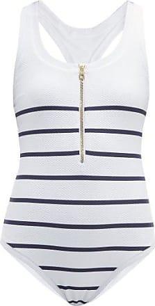 Heidi Klein Zipped Striped-basketweave Swimsuit - Womens - Blue Multi