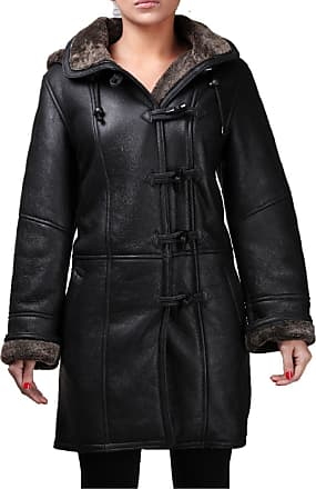 Infinity Ladies Black New Winter Warm Real Shearling Sheepskin Leather Duffle Coat (XXL)