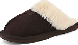 Dream Pairs Womens Faux Fur Slippers Ladies Slip On Suede Cozy Indoor Outdoor Winter House Shoes Sofie-05 Brown Size 9.5-10 US/ 7.5-8 UK