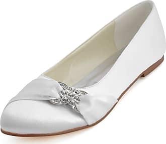 Elegantpark EP2006 Women Wedding Shoes Flat Round Toe Bridal Shoes Rhinestones Satin Wedding Flats Bride Shoes White UK 8