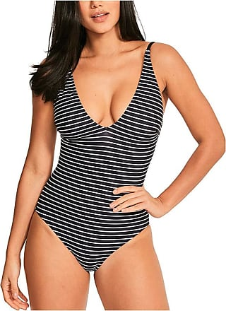 Figleaves Womens Cast Away Plunge Swimsuit Size 14 Long in Ink/White Stripe
