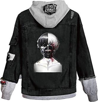 Cosstars Anime Tokyo Ghoul Kaneki Ken Hooded Denim Jacket Unisex Cosplay Button Trucker Jeans Coat Black-7-M