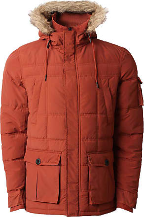Threadbare Mens Quilted Winter Padded Fur Hooded Sherpa Parka Coat DMU047 Rust L