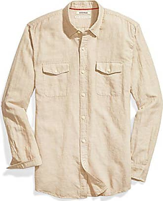 Goodthreads Mens Standard-Fit Long-Sleeve Linen and Cotton Blend Shirt, Khaki, Small
