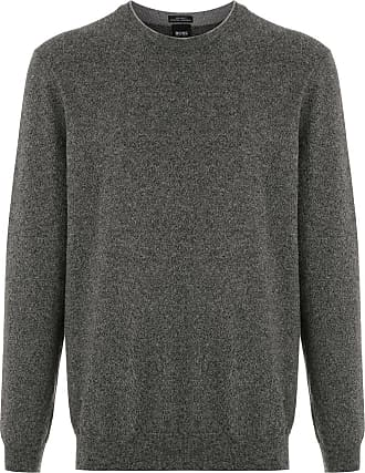 BOSS Suéter de tricô canelado - Cinza