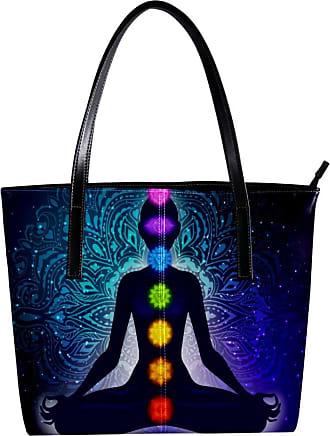 Nananma Womens Bag Shoulder Tote handbag with Meditating Yoga Woman In Lotus Poses Mandala Background Print Zipper Purse PU Leather Top-handle Zip Bags