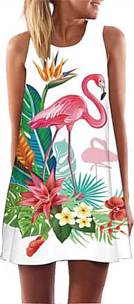 Ocean Plus Womens Summer Casual Top Flamingo A-Line Sleeveless Dresses Leaves Cover-up Western Without Sleeves Beach Dress Party Dress (M (EU 36-38), Plants and