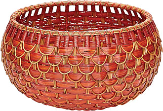 Dimond Home Medium Fish Scale Basket In Red And Orange