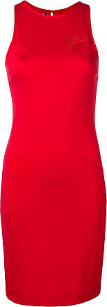 Love Moschino Vestido midi bordado com logo - Vermelho