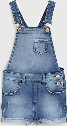 Milon Jardineira Jeans Milon Infantil Bolso Azul