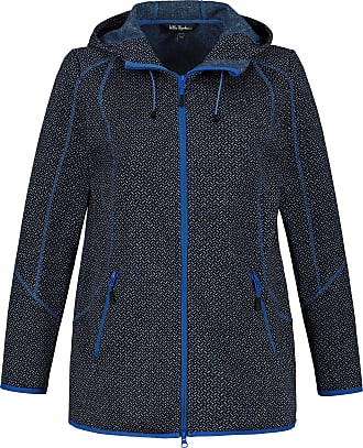 Ulla Popken Womens Plus Size Sweater Knit Fleece Herringbone Jacket Blue Multi 46+ 725989 73-46+