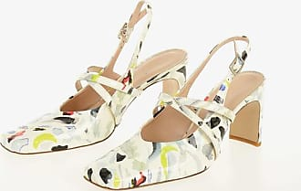 Drome Printed Leather Square Toe Slingbacks 7.5 cm size 36