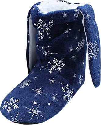 Yvelands Slipper Boots Women, Casual Round Neck Cute Winter Snowflake Print Slip On Short Boots Home Cotton Slipper Soft Ladies Bedroom Slippers Shoes Navy